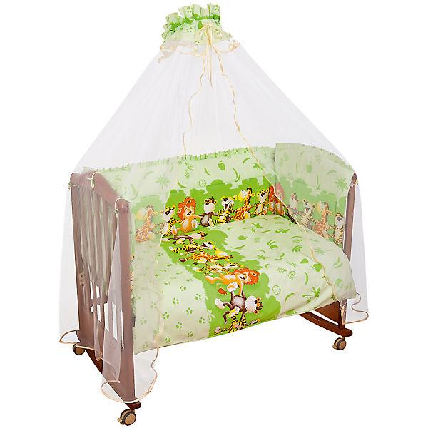 Детское постельное белье 3 предмета Сонный гномик, Африка, салатовый