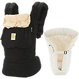 Von-Geburt-an-Paket Babytrage Original, Black/Camel, inkl. Neugeborenen-Einsatz