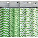 Papierstrohhalm-Set grün, 48-tlg.