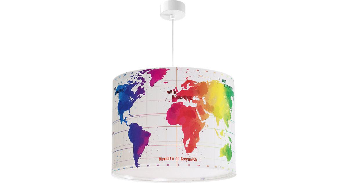 Hängelampe Weltkarte, bunt weiß
