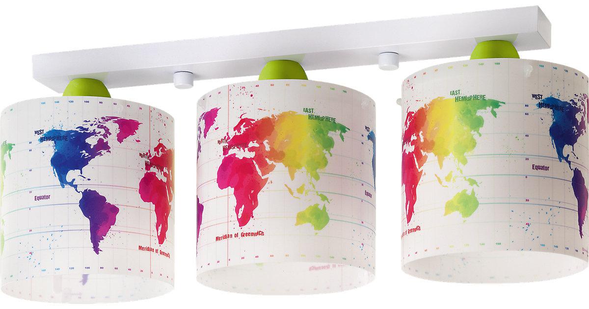Deckenlampe Weltkarte, bunt weiß