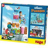 HABA 3er Puzzle-Set - Leo Timmers Mister René - 48 Teile