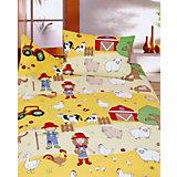 Kinderbettwäsche Bauernhof, Biber, gelb, 100 x 135 cm