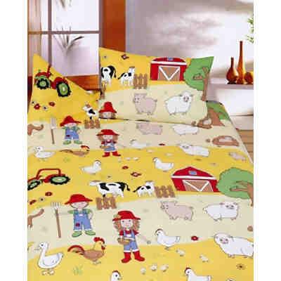 kinderbettw sche bauernhof biber gelb 100 x 135 cm. Black Bedroom Furniture Sets. Home Design Ideas
