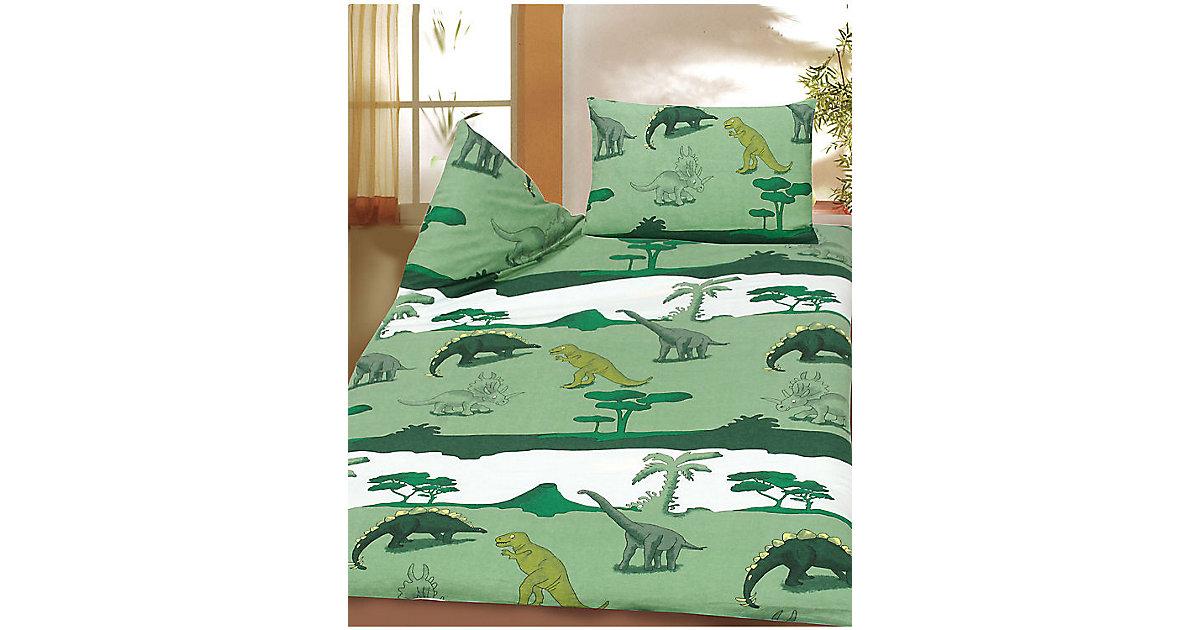Kinderbettwäsche Dinos, Biber, grün, 100 x 135 cm