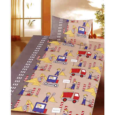 kinderbettw sche baustelle cretonne beige 100 x 135 cm mytoys. Black Bedroom Furniture Sets. Home Design Ideas