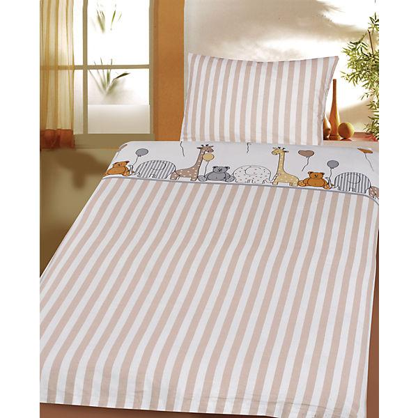 kinderbettw sche zootiere cretonne beige 100 x 135 cm mytoys. Black Bedroom Furniture Sets. Home Design Ideas