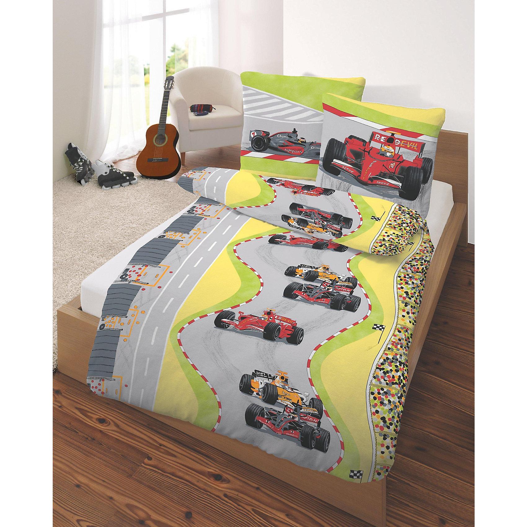 kinderbettwaesche rennwagen cretonne rot 135 x 200 cm. Black Bedroom Furniture Sets. Home Design Ideas