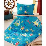 Kinderbettwäsche Kleiner Pirat, Cretonne, blau, 100 x 135 cm