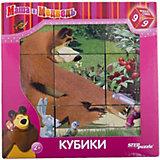"""Кубики """"Маша и Медведь"""", 9 шт., Step puzzle"""