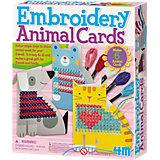 Kreativset Sticken Einladungskarten Tiere, 6 Stück
