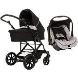 Kombi-Kinderwagen Set Como 4s inkl. Babyschale & Adapter, grey-black