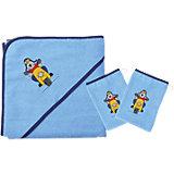 Set Kapuzenbadetuch mit 2 Waschlappen, Bikerbär hellblau, 80 x 80 cm