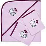 Set Kapuzenbadetuch mit 2 Waschlappen, Katze/Schmetterling, rosé, 80 x 80 cm