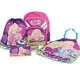 """Школьный набор """"Barbie"""" (Эргономичный ранец, мешок для обуви, пенал, фартук, кошелек)"""