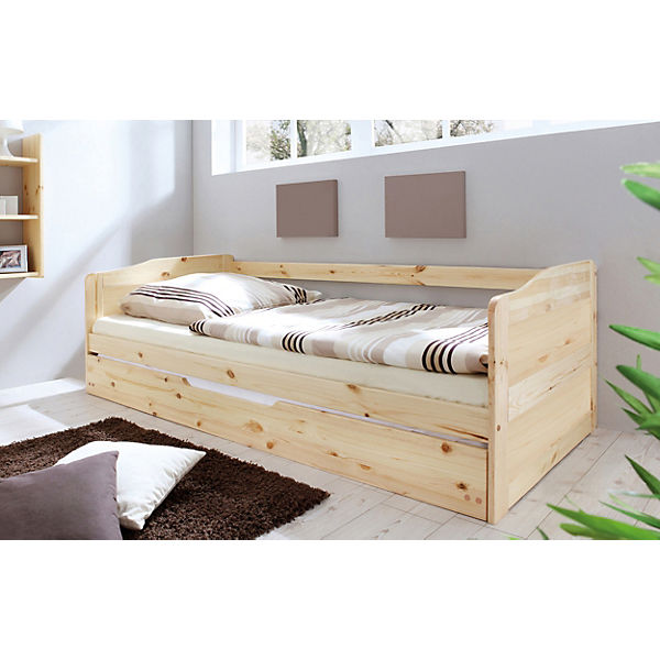 sofabett mit auszug melinda kiefer massiv natur 90 x 200 cm ticaa mytoys. Black Bedroom Furniture Sets. Home Design Ideas