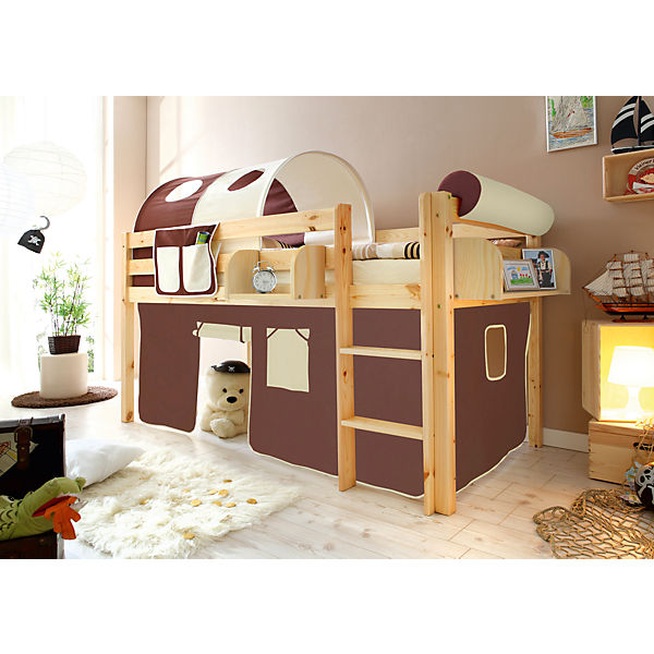 hochbett malte kiefer massiv natur 90 x 200 cm braun beige ticaa mytoys. Black Bedroom Furniture Sets. Home Design Ideas