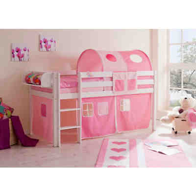 hochbett malte kiefer massiv wei 90 x 200 cm rosa pink. Black Bedroom Furniture Sets. Home Design Ideas