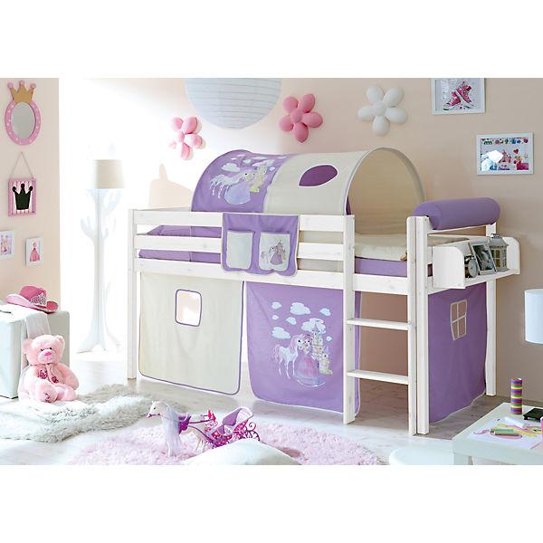 hochbett malte kiefer massiv wei 90 x 200 cm pferde lila ticaa mytoys. Black Bedroom Furniture Sets. Home Design Ideas
