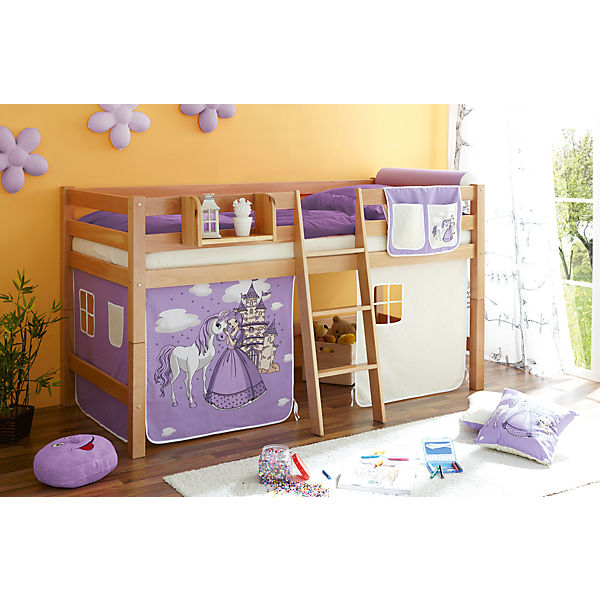 hochbett tipsi buche massiv natur 90 x 200 cm pferde lila ticaa mytoys. Black Bedroom Furniture Sets. Home Design Ideas