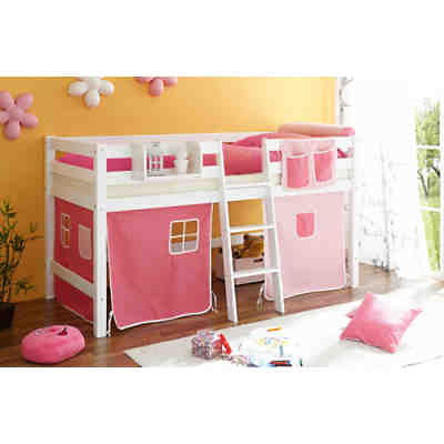 hochbett tipsi buche massiv wei 90 x 200 cm rosa pink ticaa mytoys. Black Bedroom Furniture Sets. Home Design Ideas
