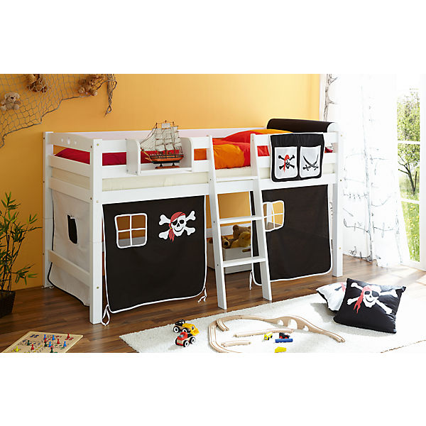hochbett tipsi buche massiv wei 90 x 200 cm pirat schwarz wei ticaa mytoys. Black Bedroom Furniture Sets. Home Design Ideas