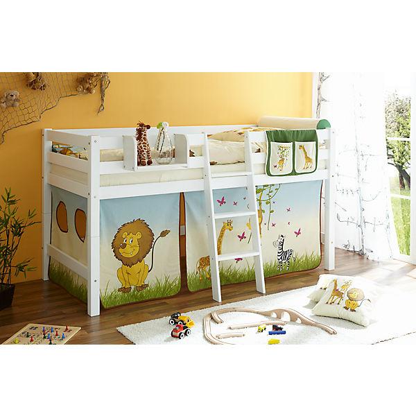 hochbett tipsi buche massiv wei 90 x 200 cm safari. Black Bedroom Furniture Sets. Home Design Ideas