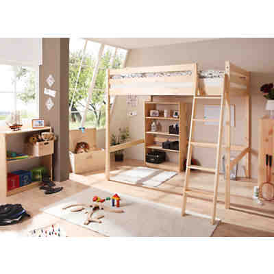 hochbett matthias kiefer massiv natur 140 x 200 cm ticaa mytoys. Black Bedroom Furniture Sets. Home Design Ideas