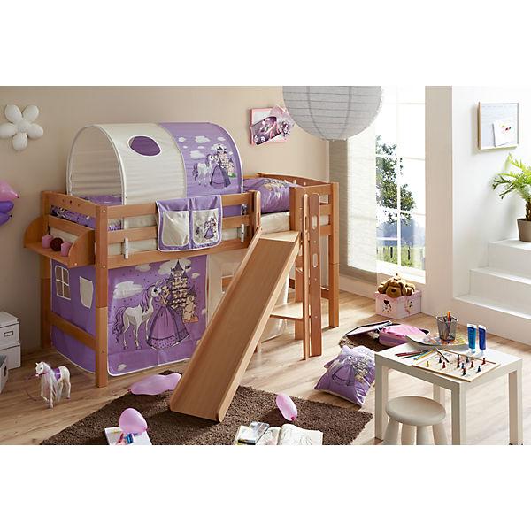 spielbett mit podest und rutsche tino buche massiv natur 90 x 200 cm pferde lila ticaa mytoys. Black Bedroom Furniture Sets. Home Design Ideas