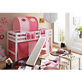 Hochbett mit Podest und Rutsche Tino, Buche weiß, 90 x 200 cm, rosa-pink