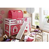 Hochbett mit Podest und Rutsche Tino, Buche weiß, 90 x 200 cm, rosa-weiß