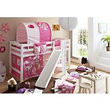 Hochbett mit Podest und Rutsche Tino, Buche weiß, 90 x 200 cm, Pferde pink