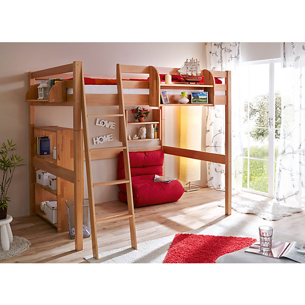 hochbett tanja buche natur 140 x 200 cm ticaa mytoys. Black Bedroom Furniture Sets. Home Design Ideas