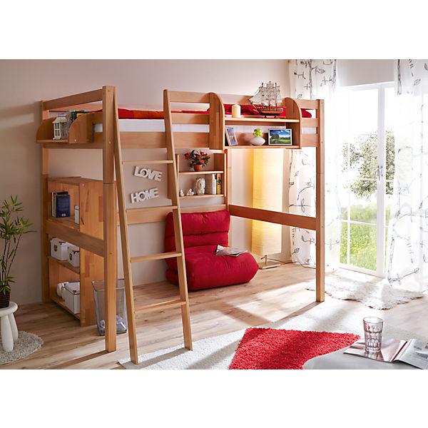 hochbett tanja buche natur 140 x 200 cm ticaa mytoys. Black Bedroom Furniture Sets. Home Design Ideas