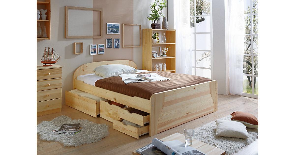 Doppelbett mit Schubkästen Erna, Kiefer massiv natur, 140 x 200 cm ...