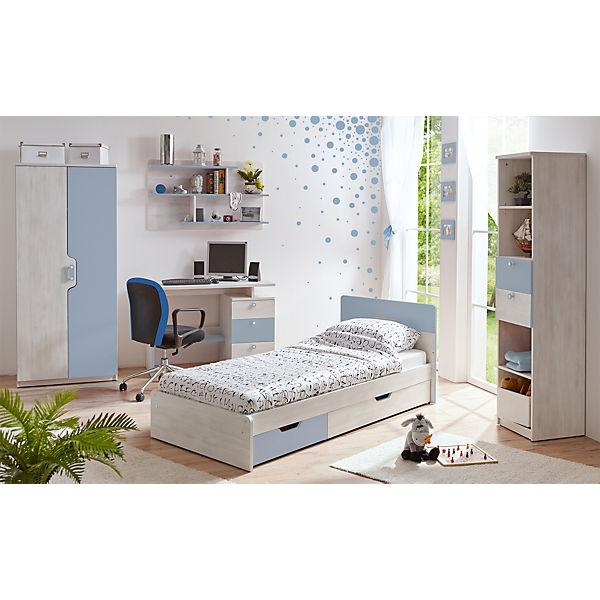 komplett jugendzimmer nino 5 tlg einzelbett kleiderschrank standregal schreibtisch. Black Bedroom Furniture Sets. Home Design Ideas