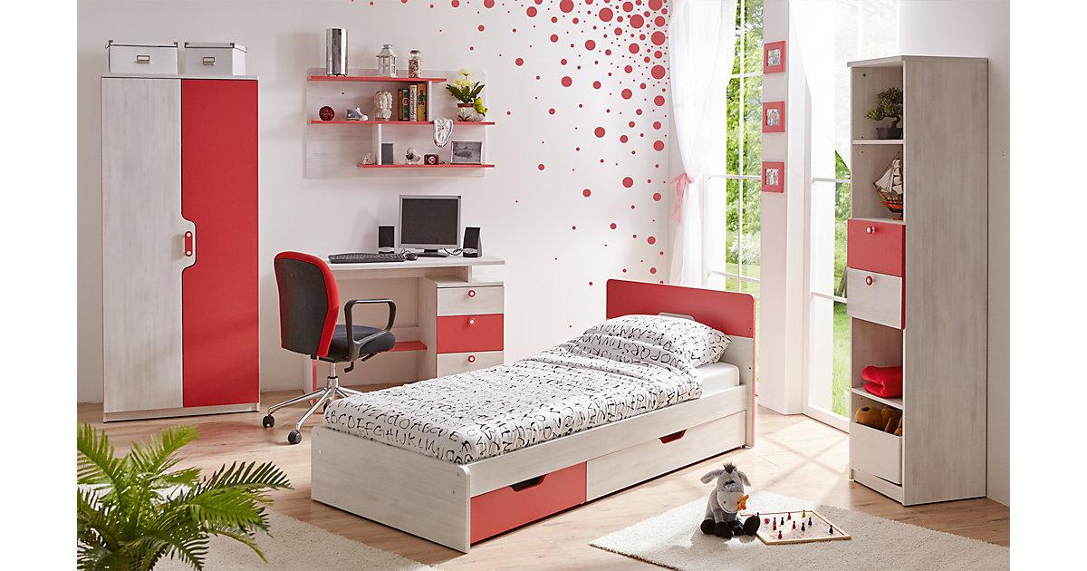 Komplett Jugendzimmer Nino, 5-tlg., (Einzelbett, Kleiderschrank, Standregal, Schreibtisch, Wandregal), himbeere pink Gr. 90 x 200