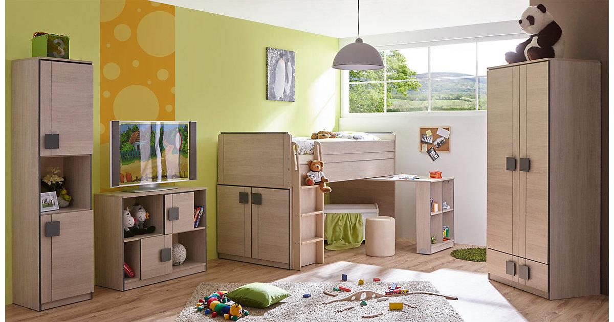 Komplett Jugendzimmer Camo, 4-tlg., (Hochbett, Kleiderschrank, Standregal, Kommode), grau Gr. 90 x 200
