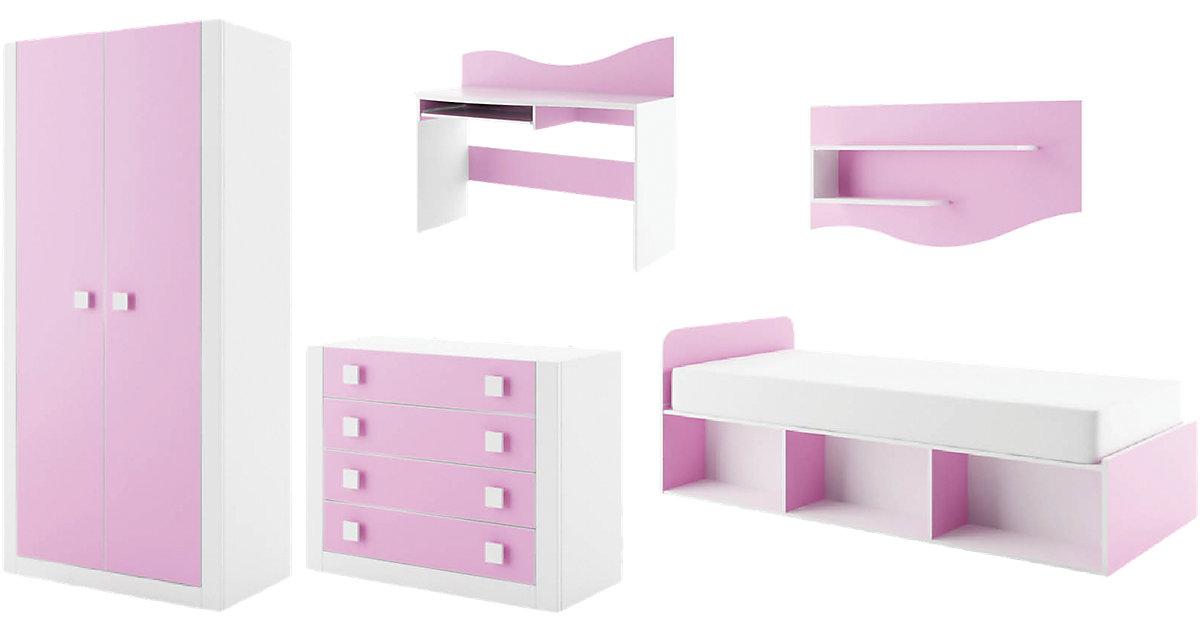 Komplett Jugendzimmer Mekki, 5-tlg., (Einzelbett, Kleiderschrank, Kommode, Schreibtisch, Wandregal), rosa Gr. 90 x 200