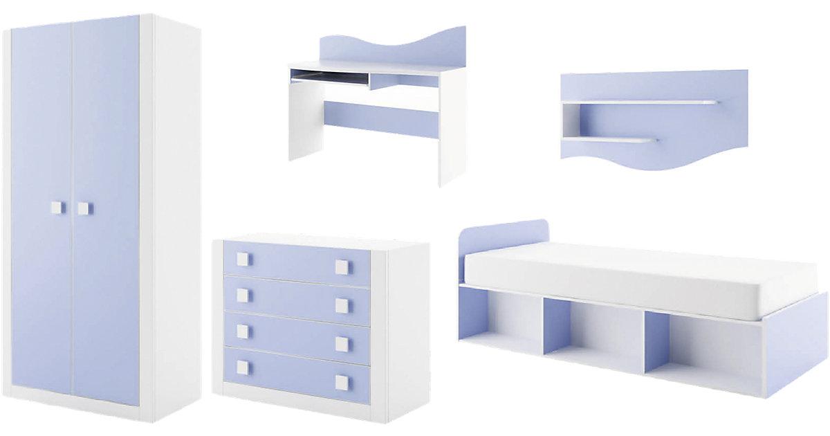Komplett Jugendzimmer Mekki, 5-tlg., (Einzelbett, Kleiderschrank, Kommode, Schreibtisch, Wandregal), blau Gr. 90 x 200