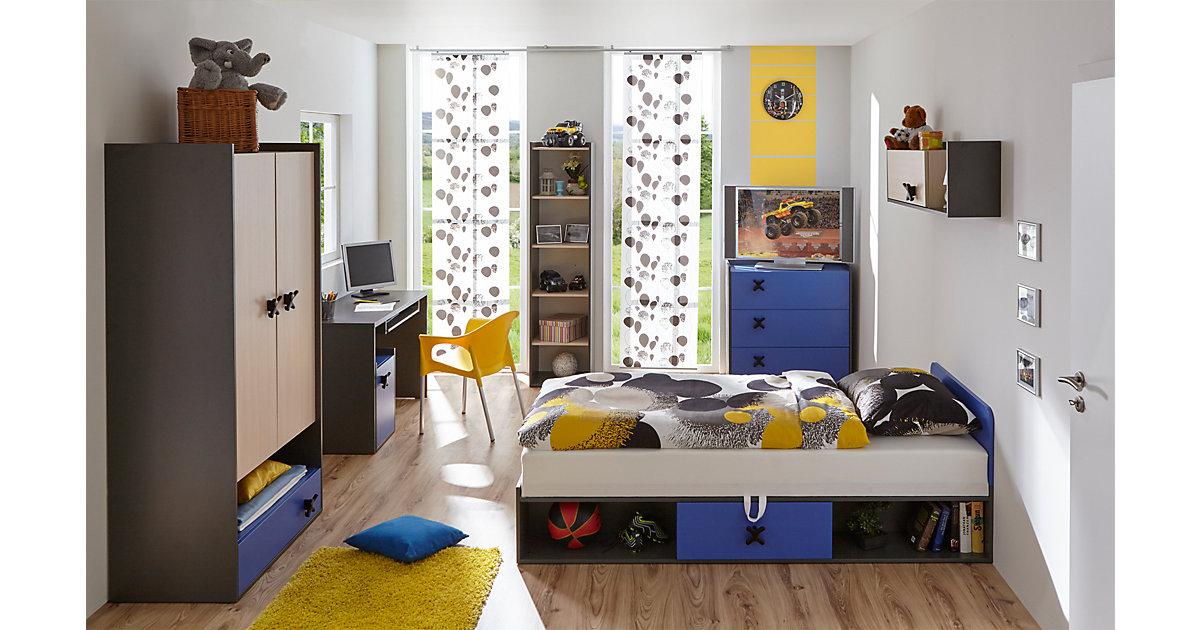 Komplett Jugendzimmer Inka, 6-tlg. (Einzelbett, Kleiderschrank, Kommode, Nachttisch, Wandregal, Schreibtisch), anthrazit-blau grau Gr. 90 x 200