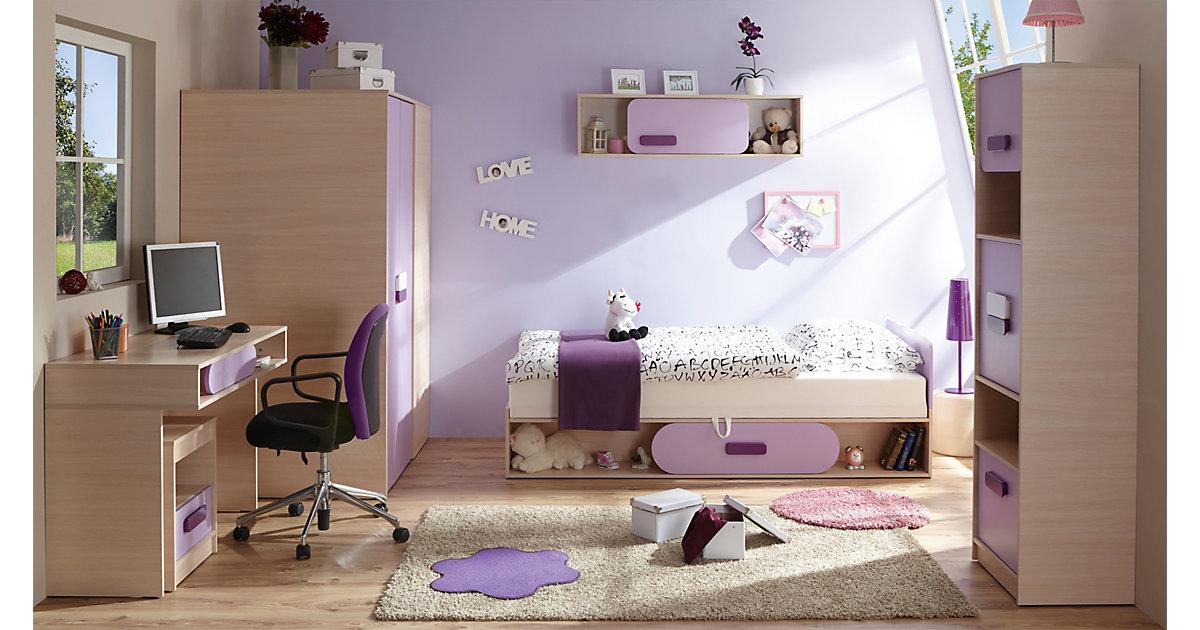 Komplett Jugendzimmer Globus 6-tlg. (Einzelbett, Kleiderschrank, Standregal, Nachttisch, Schreibtisch, Wandregal), Eiche lila Gr. 90 x 200