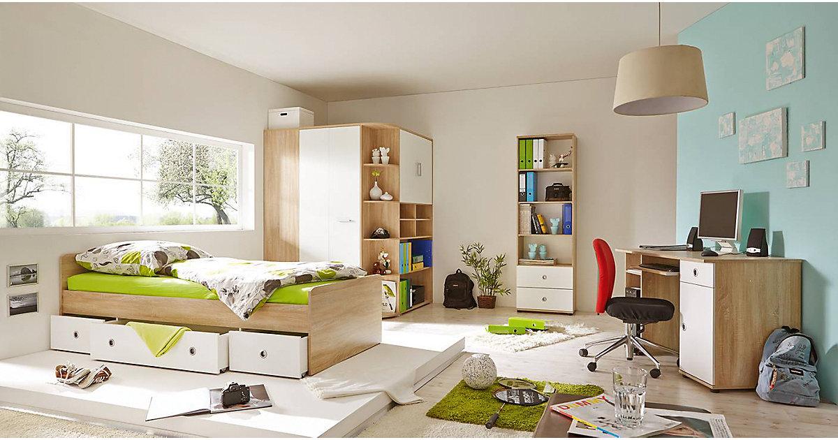 Komplett Jugendzimmer Corner, 4-tlg., (Einzelbett, Kleiderschrank, Kommode, Schreibtisch), Sonoma weiß kolonial Gr. 90 x 200