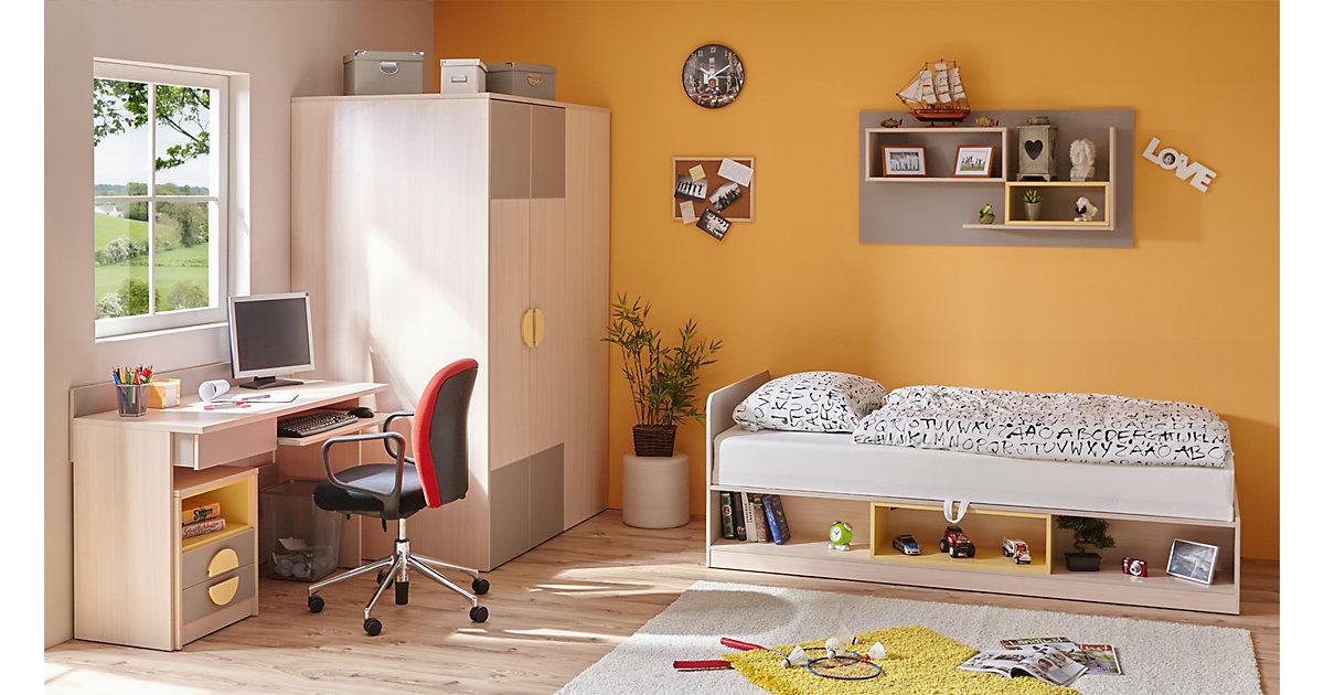Komplett Jugendzimmer Primus, 5-tlg., (Einzelbett, Kleiderschrank, Kommode, Schreibtisch, Wandregal), grau-gelb braun Gr. 90 x 200