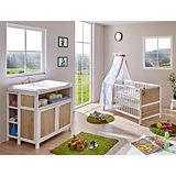 Babyzimmer Croco Pirat, 3-tlg. (Babybett inkl. Matratze und 4-tlg. Bettwäsche-Set, Wickelkommode, Standregal), Sonoma-weiß