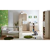 Babyzimmer Nico, 4-tlg. (Kleiderschrank, Standregal, Wickelkommode, Kinderbett), Sonoma-weiß