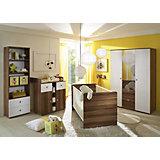 Babyzimmer Milu, 4-tlg. (Kleiderschrank 3-trg., Babybett, Wickelkommode, Standregal), Walnuss-weiß