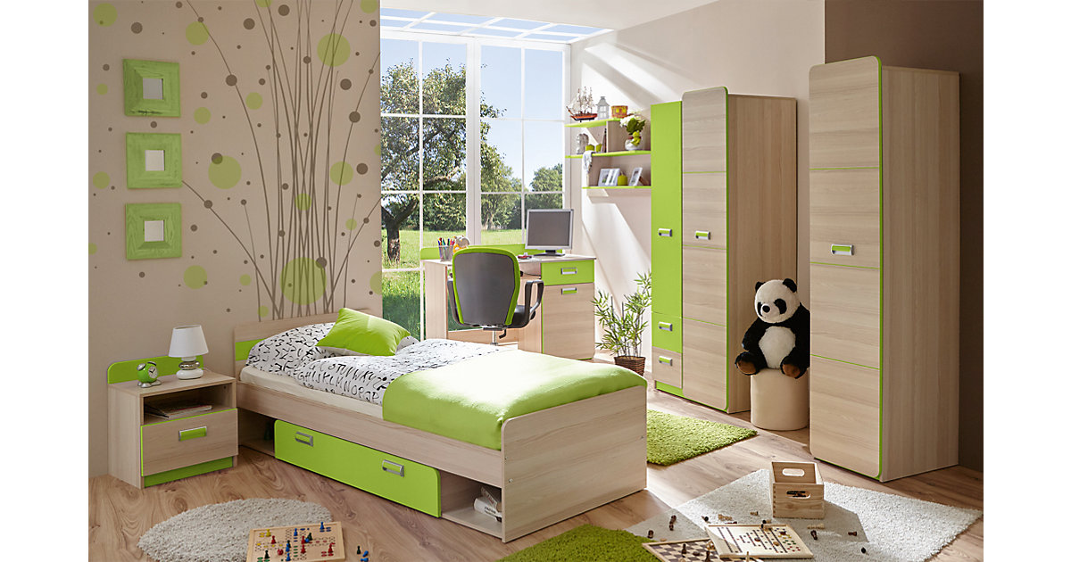 Komplett Jugendzimmer Lori, 6-tlg. (Jugendbett, Kleiderschrank, Standregal, Schreibtisch, Nachttisch, Wandregal), grün Gr. 90 x 200