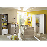 Babyzimmer Milu II, 4-tlg. (Kleiderschrank 2-trg., Babybett, Wickelkommode, Standregal), Sonoma-weiß