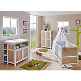 Babyzimmer Croco Pirat, 4-tlg. (Babybett inkl. Matratze und 4-tlg. Bettwäsche-Set, Wickelkommode mit Regal, Kleiderschrank), Sonoma-weiß